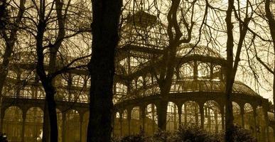 antiek glazen gebouw met bomen in sepia toon