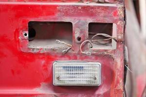 Close-up photo of empty backlight slot car