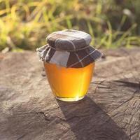 Honey jar on stump