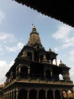 Silhouette of a Temple with a Stupa in Patan