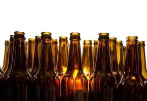 Empty glass beer bottles photo