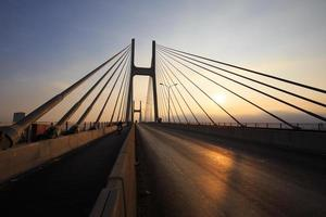 Phu My Bridge silhouette, a cable-stay bridge outlined photo