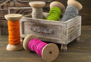 Spools of wool yarn