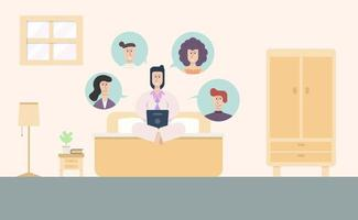 Flat Style Characters in Group Call vector