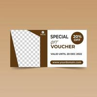 Brown Geometric Frame Gift Voucher Template