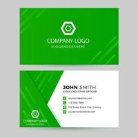 Green Diagonal Stripe and Overlapping Shape Business Card vector