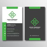 Gray and Green Accent Vertical Business Card vector