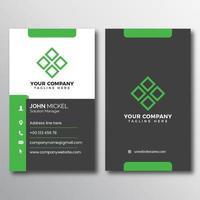 acento cinzento e verde cartão de visitas vertical vetor