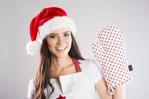 hermosa mujer de navidad foto