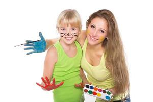 Portrait of two cheerful girls photo