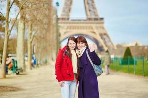 Two cheerful girls in Paris