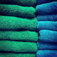 Green and blue towels photo