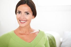 Cheerful caucasian woman looking at the camera