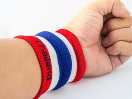 the wristband have colourful on wrist human for cheer photo