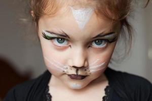 A little girl with her face painted as a cat photo