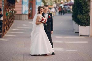 día de la boda hermosa pareja