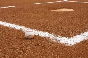 Baseball near Home Plate photo