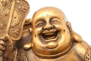 Cheerful Golden Hotei. Chinese God of Wealth.