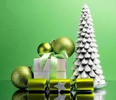 Green theme Christmas tree, gift and bauble decorations