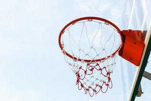 Closeup basketball hoop photo