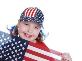 patriottisch meisje (kopie ruimte)