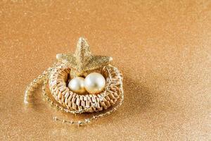 decoración de navidad, dorado, copia espacio foto