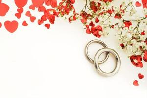 Wedding rings with copy space photo