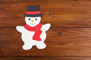 Snowman on wood, copy space