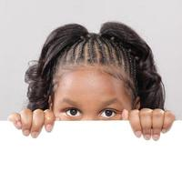 Child's face with copy space photo