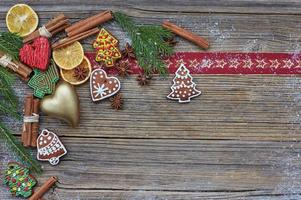 Christmas wooden background with decoration. Copy space