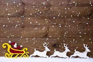 trenó do papai noel, rena, neve, cópia espaço, flocos de neve