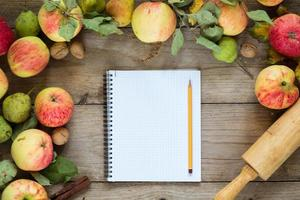 Autumn border from apples. Background with copy space