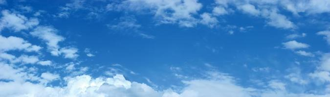 Panoramic blue sky, clouds pattern copy space, cloudscape panorama