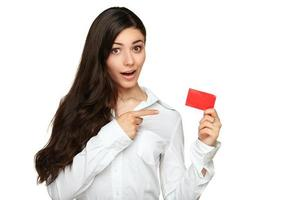 Young woman showing copy space on empty blank sign