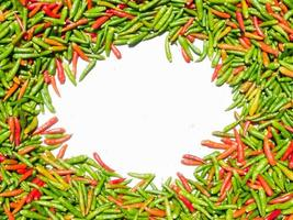 Green and Red Chili texture background with copy space