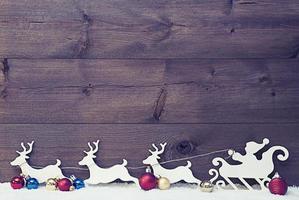 Santa Claus Sled, Reindeers On Snow, Copy Space, Vintage