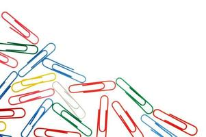 colorful paper clips isolated on white with copy space photo