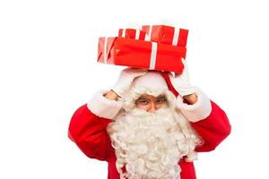 santa claus with gifts isolated on white, with copy space