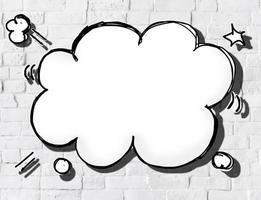 bulle de dialogue de forme de nuage sur le mur de briques