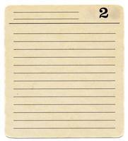 Fondo de papel de tarjeta de índice antiguo aislado con el número dos