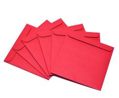 Isolated red disk envelopes photo