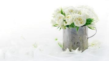 White wedding roses with copy space