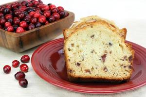 Cranberry Almond Pound Cake with copy space.