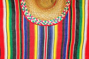 fiesta mexican poncho sombrero background with copy space