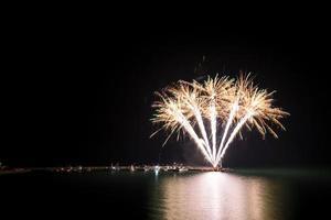 Fireworks on the beach - copy space