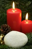 Red Holiday Candles with Copy Space photo