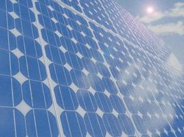 Solar panel cells blue sky copy space illustration