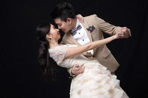 Asian bride and groom wedding photo