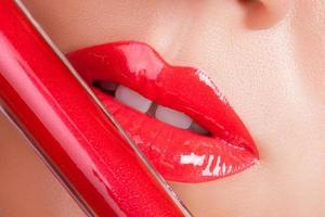 Red lips close-up. photo