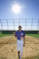 Baseball batter walking on pitch with bat resting on shoulder photo